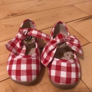 Red gingham ballet flats